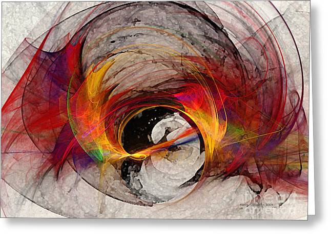 Reaction Abstract Art Greeting Card by Karin Kuhlmann