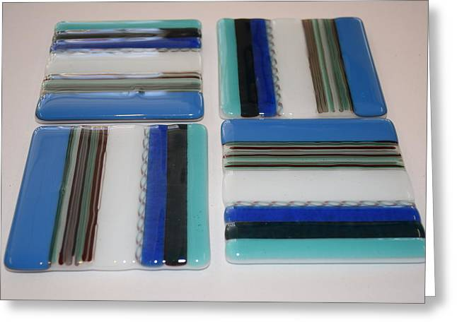 Stripes Glass Art Greeting Cards - Reactive Glass Coasters Greeting Card by Rosalind Duffy