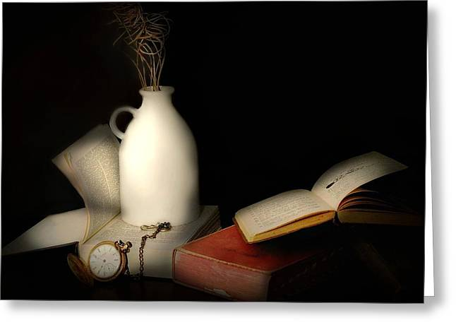 Still Life With Old Pitcher Greeting Cards - Read and a Watch Greeting Card by Diana Angstadt