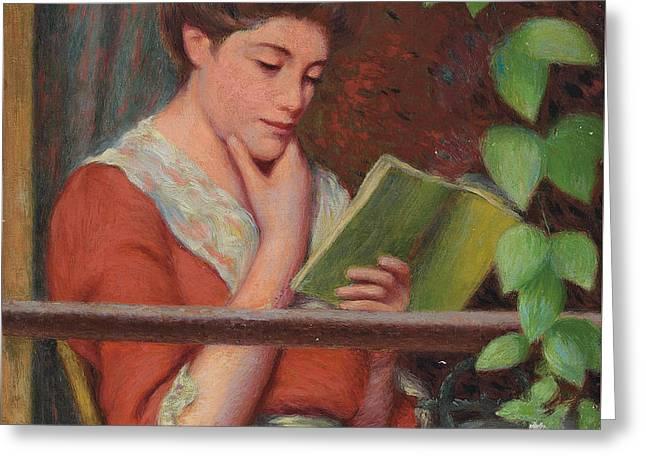 Reading Al Fresco Greeting Card by Federigo Zandomeneghi