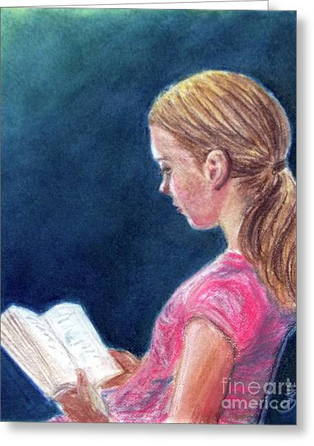 Stretching Pastels Greeting Cards - Reading Assignment Greeting Card by Yoshiko Mishina