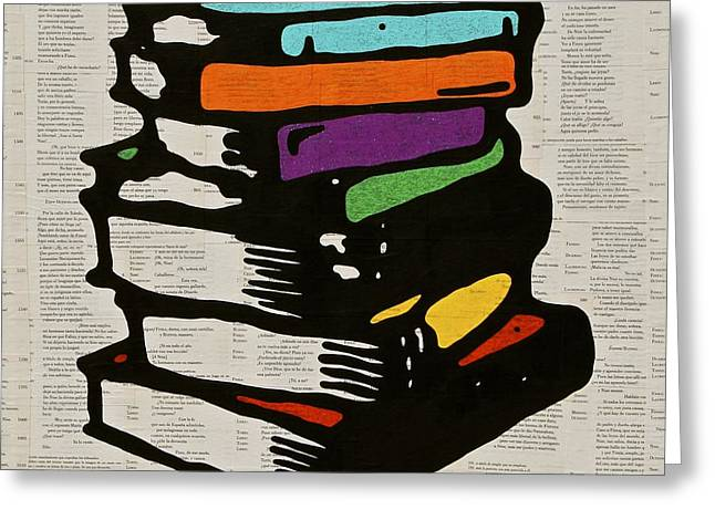 Pop Mixed Media Greeting Cards - Reading Books  Greeting Card by Jen Gabriele