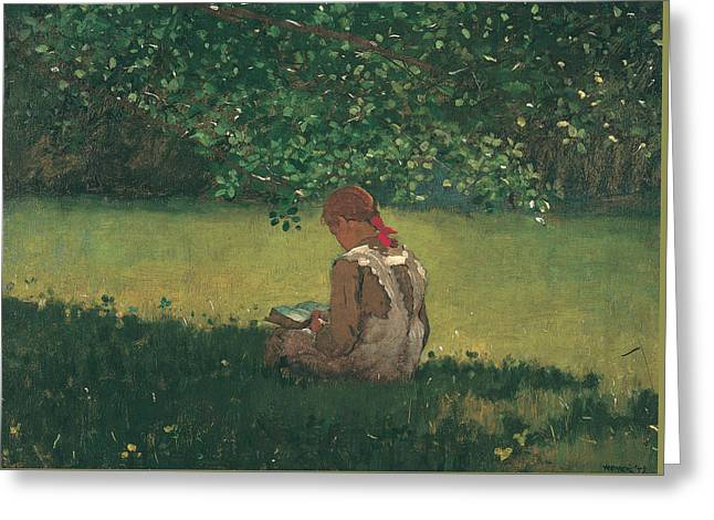 Reading By The Brook Greeting Card by Winslow Homer