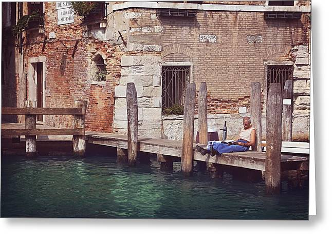 Gondolier Greeting Cards - Reading Hour  Greeting Card by Carol Japp