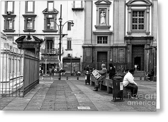 Reading Images Greeting Cards - Reading in Paper in Piazza Dante Greeting Card by John Rizzuto
