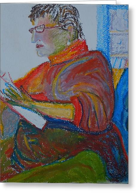 Human Pastels Greeting Cards - Reading in Paris Greeting Card by Francine Frank