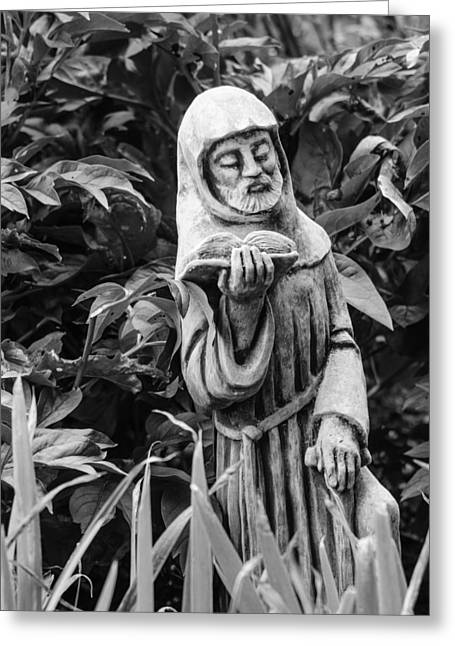 Garden Statuary Greeting Cards - Reading in the Garden Greeting Card by Stephanie Maatta Smith