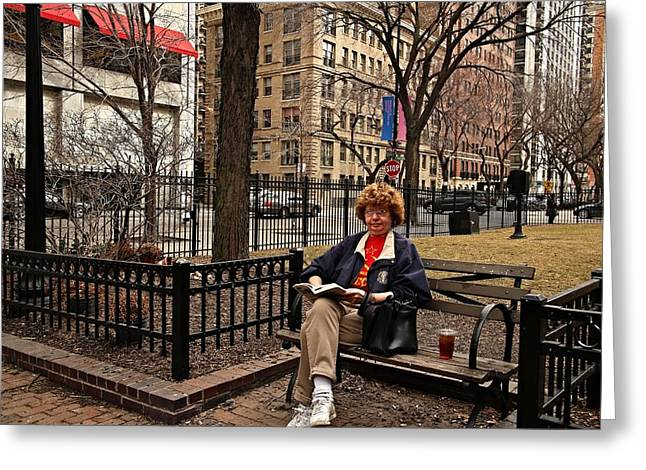 First-lady Greeting Cards - Reading in the Park Greeting Card by Andre Van Vegten