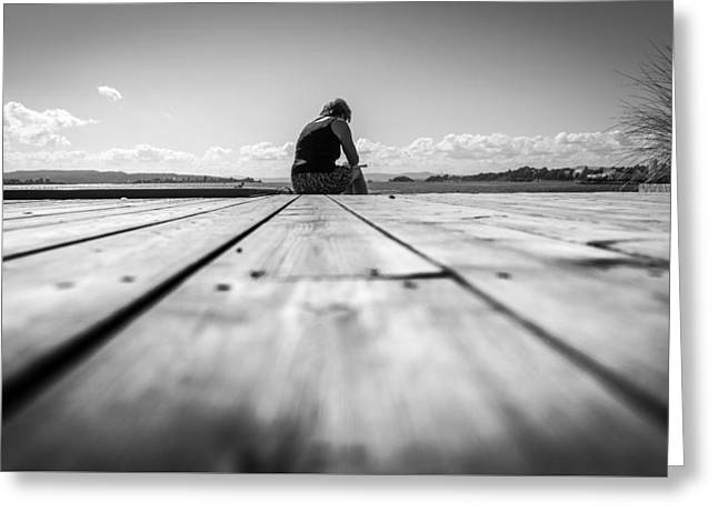 Reading - Oslo, Norway - Black And White Street Photography Greeting Card by Giuseppe Milo