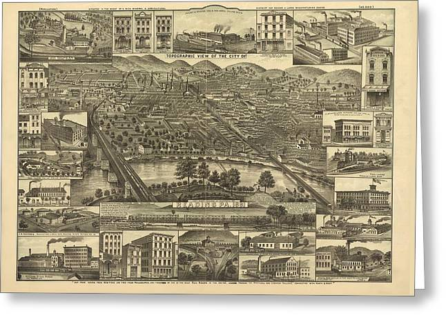 Reading Pennsylvania 1881 Greeting Card by Mountain Dreams