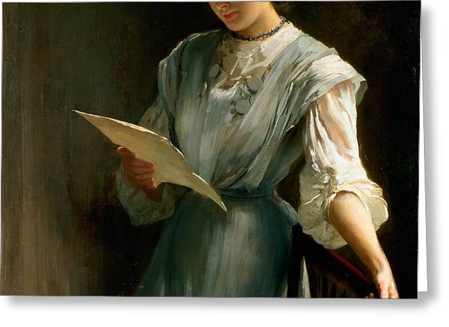 Reading the Letter  Greeting Card by Thomas Benjamin Kennington