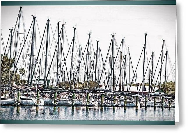 Docked Sailboats Greeting Cards - Ready for a Sail Greeting Card by Pamela Blizzard