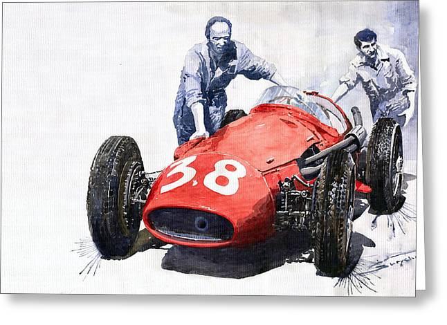 Watercolour Paintings Greeting Cards - Ready for racing Maserati 250 F Greeting Card by Yuriy  Shevchuk