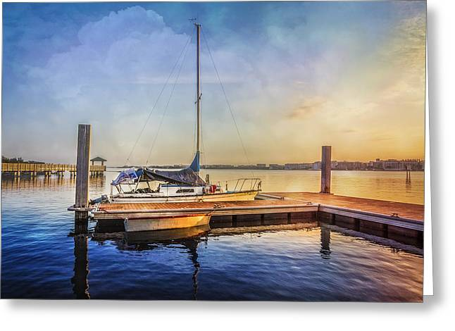 Boats At The Dock Greeting Cards - Ready for Sailing Greeting Card by Debra and Dave Vanderlaan