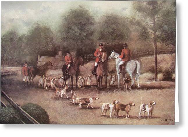 Foxhound Greeting Cards - Ready For the Hunt Greeting Card by Charles Roy Smith