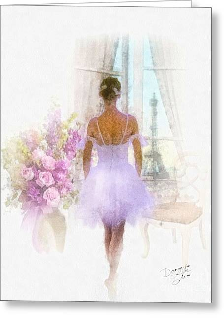 Dance Ballet Roses Paintings Greeting Cards - Ready Greeting Card by Mo T