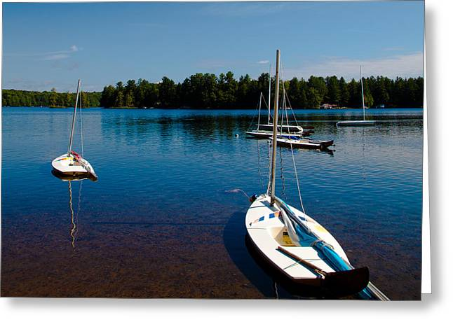 Docked Sailboats Greeting Cards - Ready to Sail on White Lake Greeting Card by David Patterson