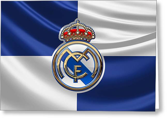 Real Madrid C F - 3 D Badge Over Flag Greeting Card by Serge Averbukh