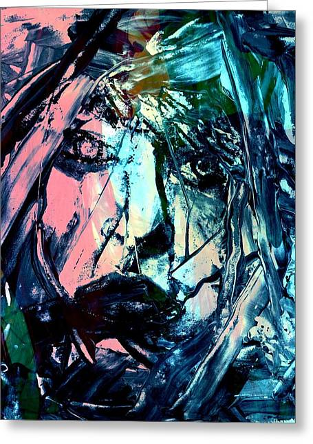 Layer Greeting Cards - Really Abstract Mixed Media Portrait by Rich Ray Art Greeting Card by Rich  Ray Art