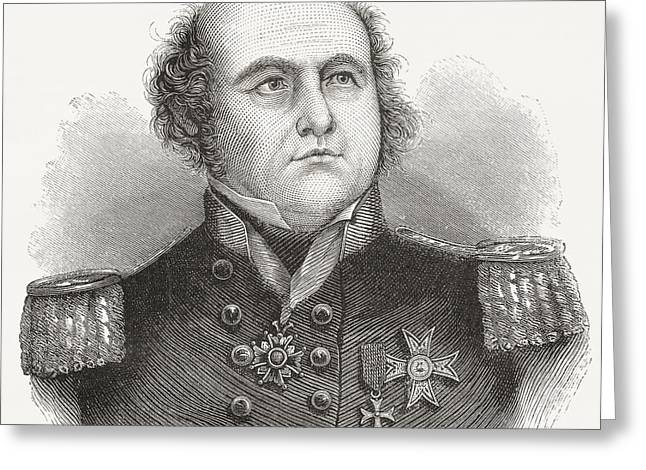 Franklin Drawings Greeting Cards - Rear-admiral Sir John Franklin, 1786 Greeting Card by Ken Welsh