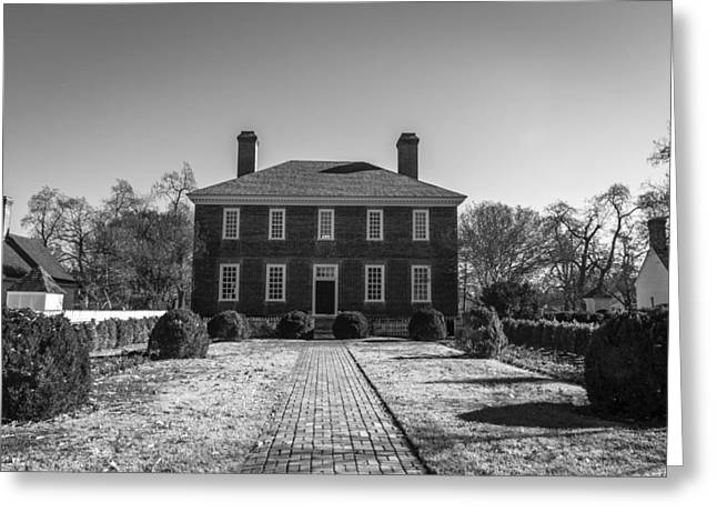 1752 Greeting Cards - Rear View George Wythe House B W Greeting Card by Teresa Mucha