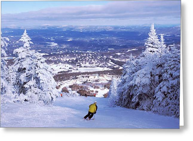 Rear View Of A Person Skiing, Stratton Greeting Card by Panoramic Images