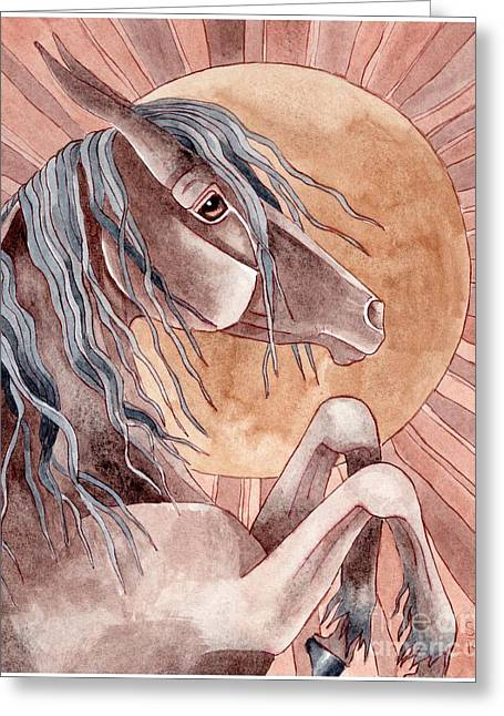 Quarter Horses Mixed Media Greeting Cards - Rearing Bay Over Abstract Moon Greeting Card by Suzanne Joyner