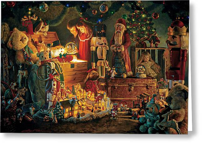 Santa Claus Greeting Cards - Reason for the Season Greeting Card by Greg Olsen