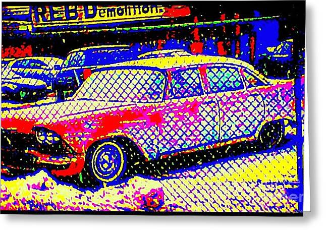 Demolition Derby Greeting Cards - Reb Demolition Greeting Card by Peter Gumaer Ogden