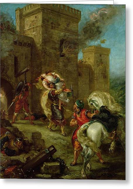 Knights Castle Paintings Greeting Cards - Rebecca Kidnapped by the Templar Greeting Card by Ferdinand Victor Eugene Delacroix