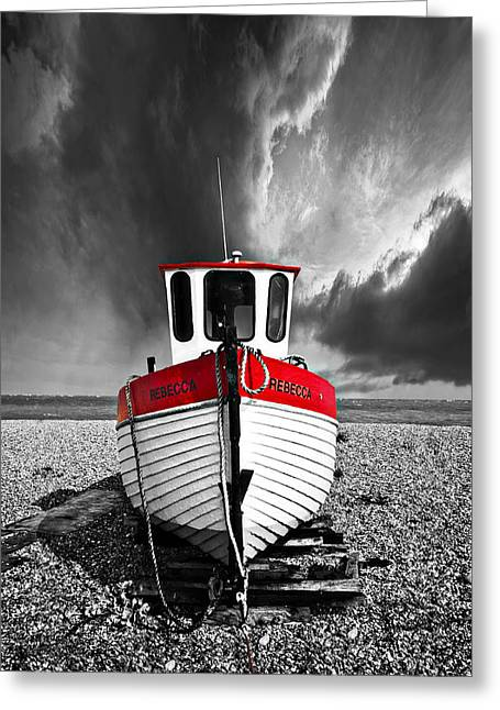Fishing Boats Greeting Cards - Rebecca Wearing Just Red Greeting Card by Meirion Matthias
