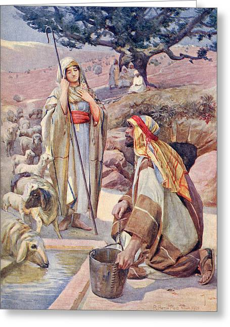 Testament Greeting Cards - Rebekah At The Well. From A Book Of Greeting Card by Ken Welsh