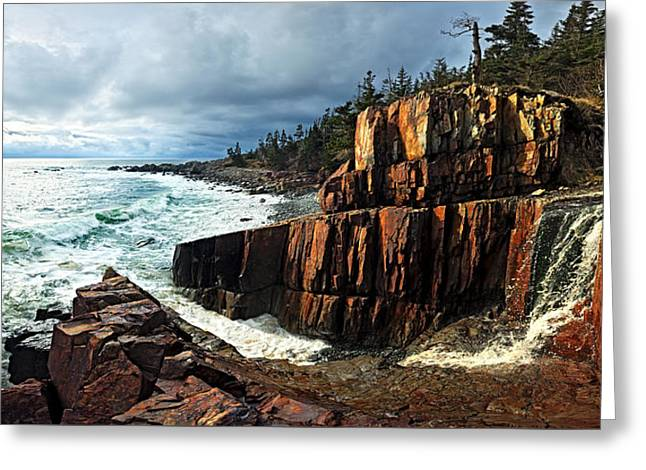 Panoramic Ocean Greeting Cards - Receding Storm Greeting Card by Bill Caldwell -        ABeautifulSky Photography