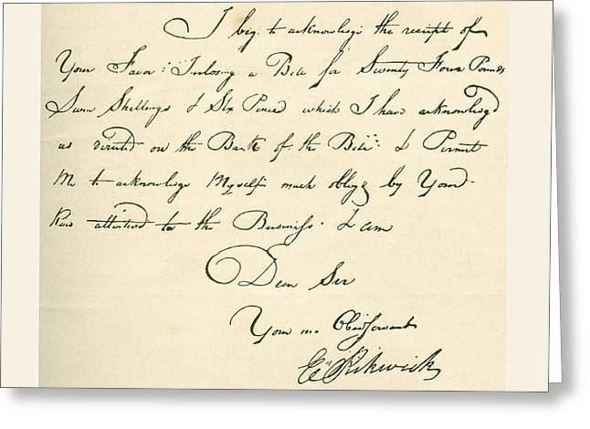 Receipt Greeting Cards - Receipt, Dated 1802, Signed By E Greeting Card by Vintage Design Pics