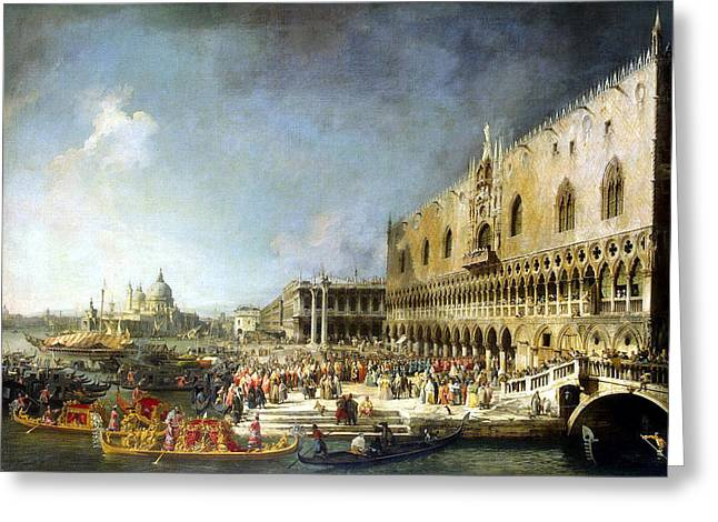 Reception Paintings Greeting Cards - Reception of the French Ambassador in Venice Greeting Card by Celestial Images