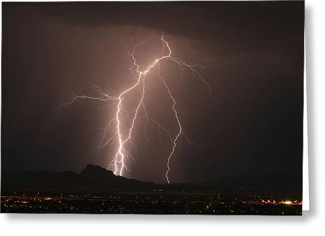 Scottsdale Lightning Greeting Cards - Reckless Light Greeting Card by Cathy Franklin