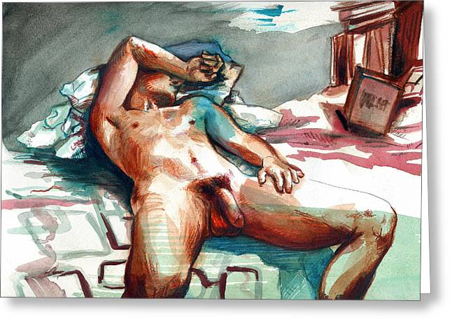 Nude Reclined Male Figure Greeting Card by Rene Capone