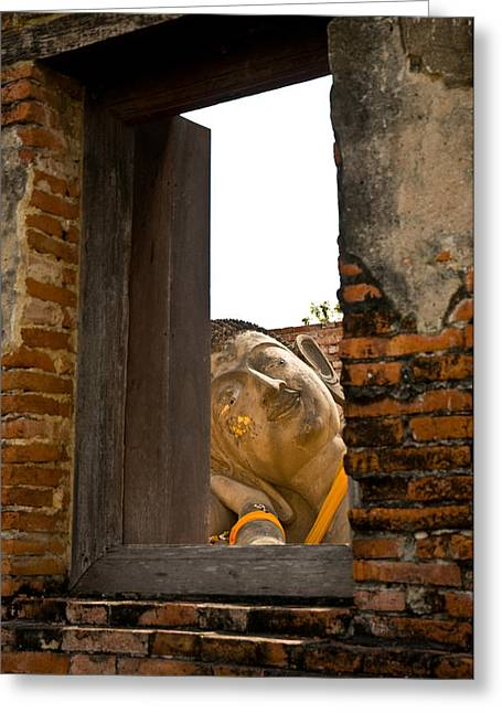 Ayuthaya Greeting Cards - Reclining Buddha view through a window Greeting Card by Ulrich Schade