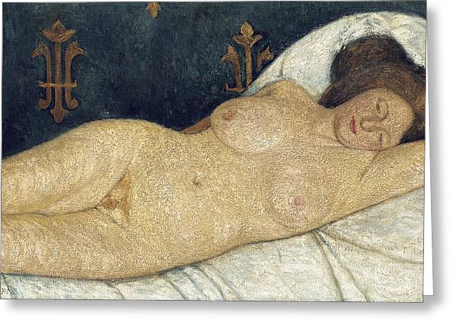 Reclining Paintings Greeting Cards - Reclining female nude Greeting Card by Paula Modersohn-Becker