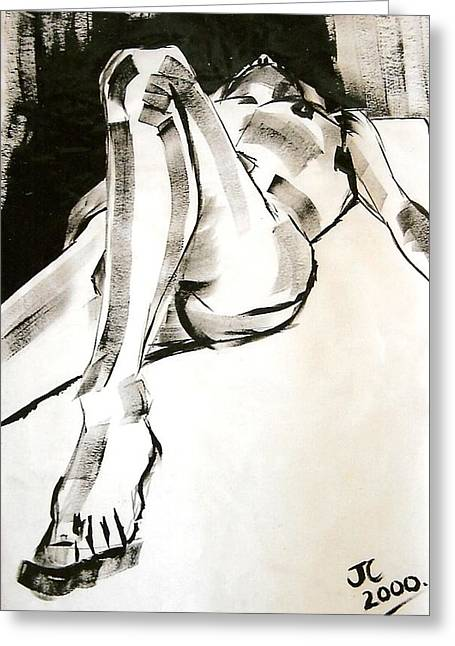 Nudes Drawings Greeting Cards - Reclining Male Greeting Card by Joanne Claxton