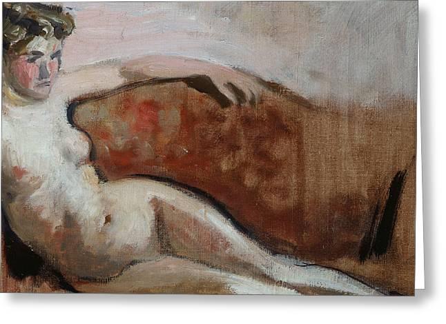 Settee Greeting Cards - Reclining Nude Greeting Card by Edouard Vuillard