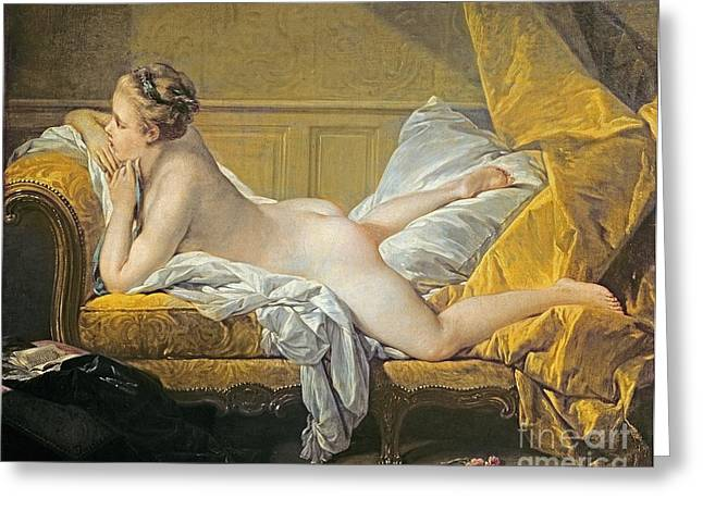 Chaise Greeting Cards - Reclining Nude Greeting Card by Francois Boucher