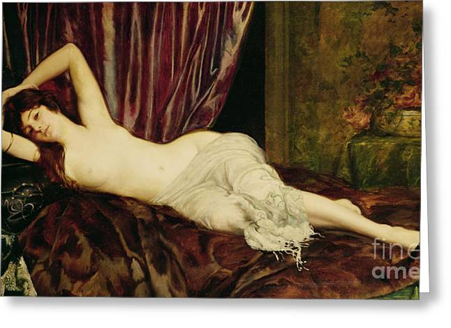 Odalisque Greeting Cards - Reclining Nude Greeting Card by Henri Fantin Latour