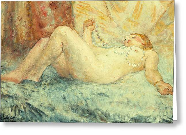 Sprawl Greeting Cards - Reclining Nude Greeting Card by Henri Lebasque