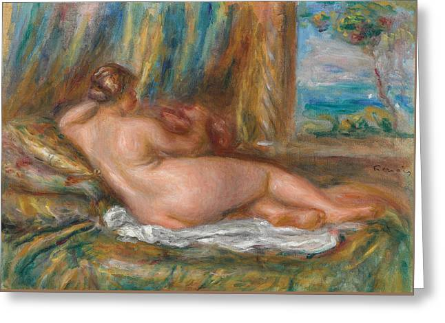 Renoir Greeting Cards - Reclining Nude or Reclining Odalisque Greeting Card by Pierre Auguste Renoir