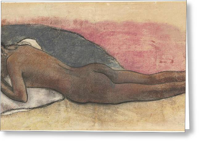 Famous ist Drawings Greeting Cards - Reclining Nude Greeting Card by Paul Gauguin