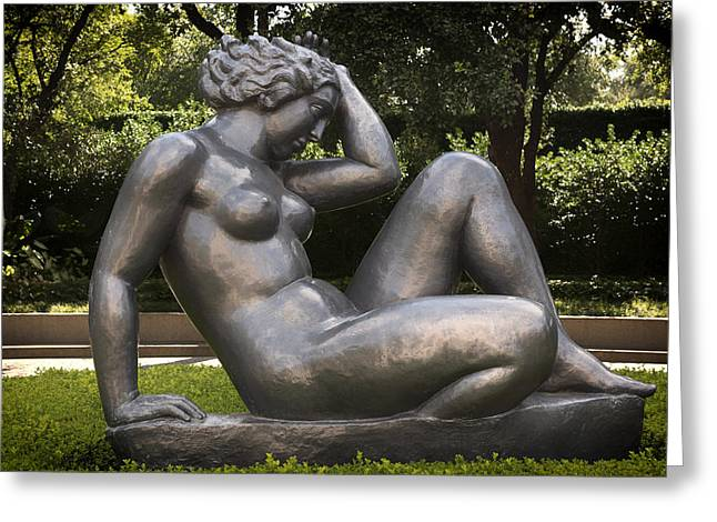 Nude Sculptures Greeting Cards - Reclining Nude Sculpture  Greeting Card by Mountain Dreams