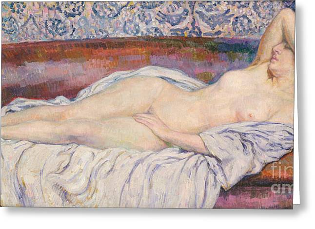 Female Body Paintings Greeting Cards - Reclining Nude  Greeting Card by Theo van Rysselberghe