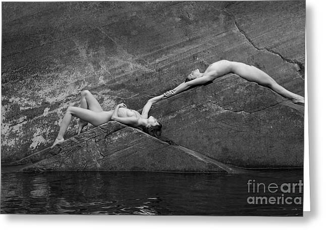 Reclining Nudes Greeting Card by Inge Johnsson