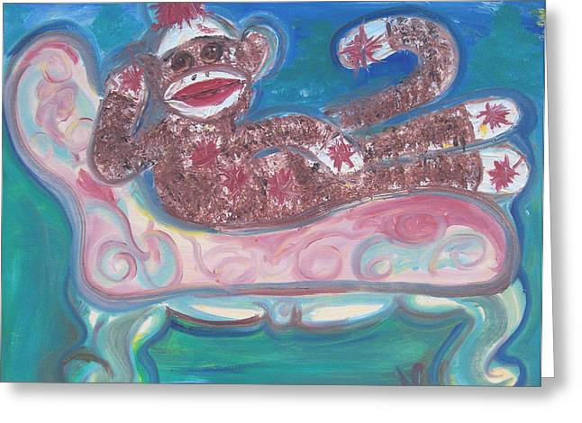 Reclining Sock Monkey Greeting Card by Nell Stockdall